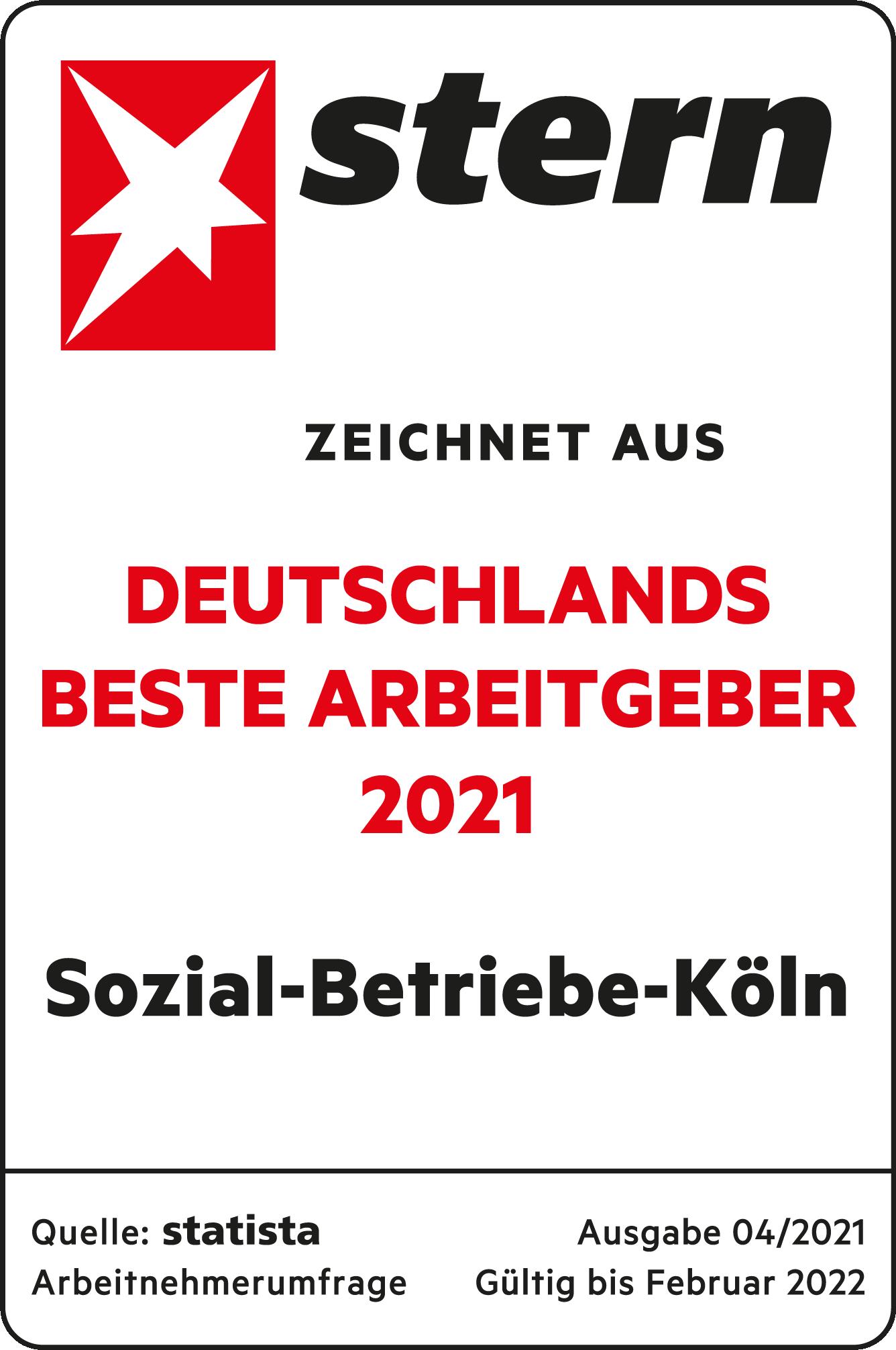 Siegel Stern-Auszeichnung Deutschlands beste Arbeitgeber 2021 / zur Unterseite