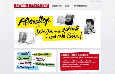 Startseite der Homepage der Aktion-Altenpflege
