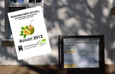 Das Titelblatt des aktuellen Seniorentreff Aktuell vor dem Gebäude des Seniorentreffs (Montage)