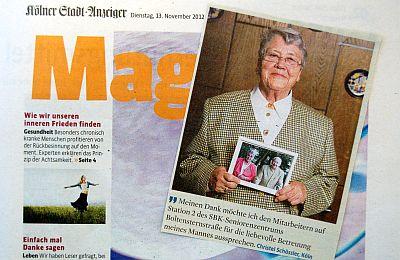 Ausschnitt des Magazins des Kölner Stadt-Anzeigers vom 13. November 2012
