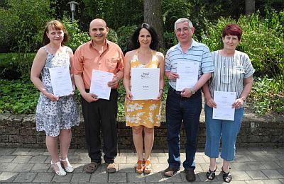 SBK/ABAG-Kurs A von links: Tatjana Färber, Abbas Söylemez, Dozentin Evelyn Sarbo, Igor Kurbanov, Lilia Gneiding