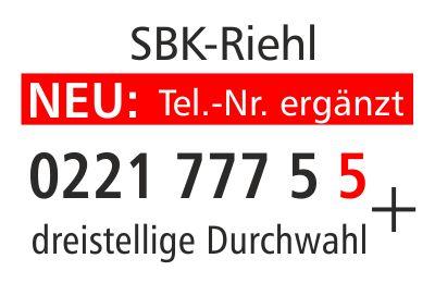Hinweisschild zu neuen SBK-Telefonnummer für Riehl