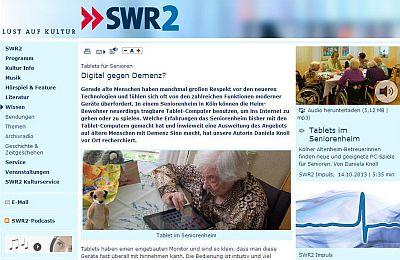 """Ausschnitt der swr.de-Seite """"Tablets für Senioren"""""""
