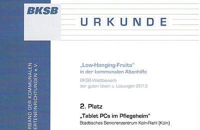 """Ausschnitt der BKSB-Urkunde für das SBK-Projekt """"Tablet-PCs im Pflegeheim"""""""