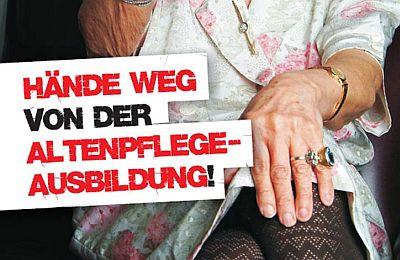Ausschnitt Postkartenmotiv Hände weg von der Altenpflege-Ausbildung