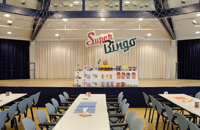 Der leere SBK-Festsaal im Vorfeld einer Bingo-Veranstaltung