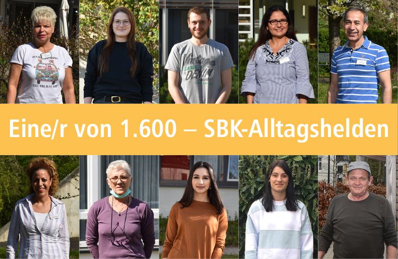 """Portraits von SBK-Mitarbeiter*innen für die Serie """"Eine/r von 1.600 – SBK-Alltagshelden"""""""